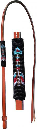 Beaded Leather Over & Under Whip, Arrow