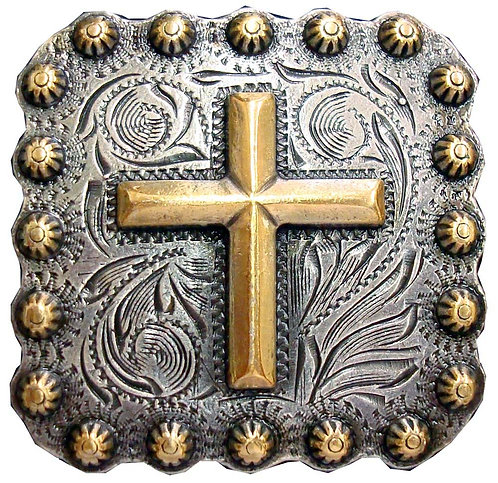 Antique Silver & Gold Square Berry Cross Concho