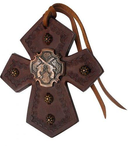 Crossed Guns Concho Saddle Cross