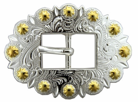 Shiny Silver & Gold Berry Cart Buckle