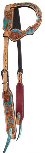 Turquoise Floral Tooled Leather One Ear Headstall