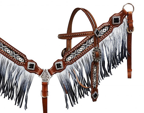 Black & White Beaded Fringe Tack Set