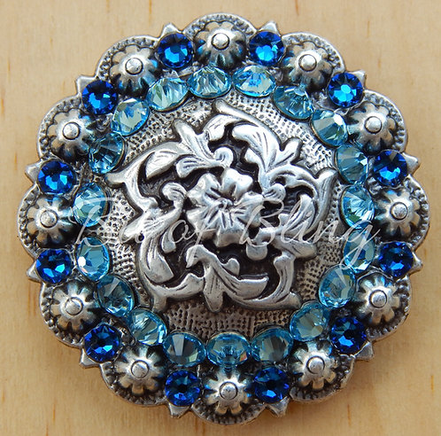 Antique Silver Coloma Berry Concho - Aqua & Capri Blue