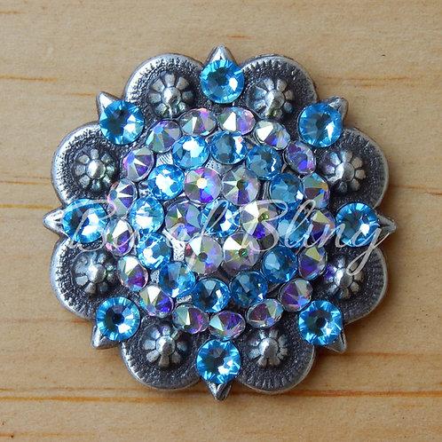 Antique Silver Round Berry Concho - Aqua & Crystal AB
