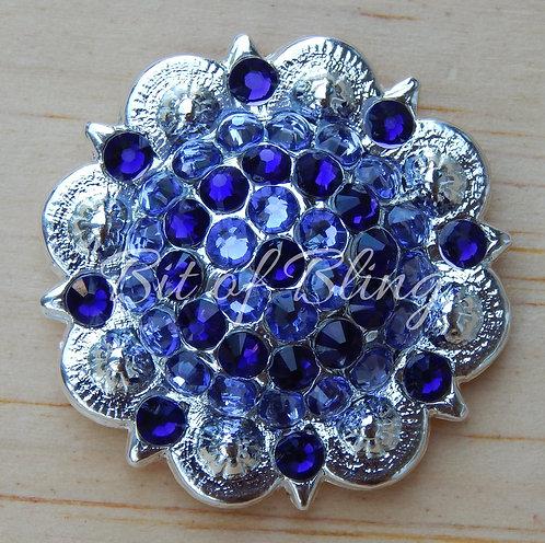 Shiny Silver Round Berry Concho - Purple Velvet & Tanzanite