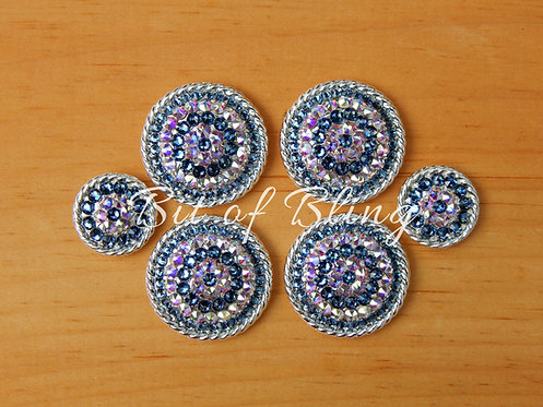 Shiny Silver Round Rope Edge Saddle Set - Denim Blue & Crystal AB