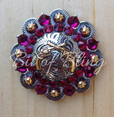 Silver & Gold Round Berry Crossed Pistols Concho - Ruby