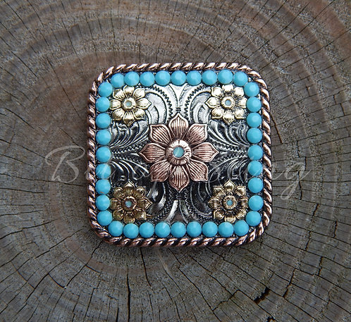 Floral Square Rope Edge Turquoise Concho