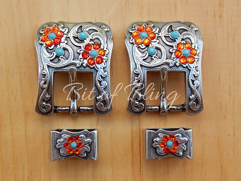 Antique Silver 2pc Western Buckle (Pair) - Turquoise & Fire Opal
