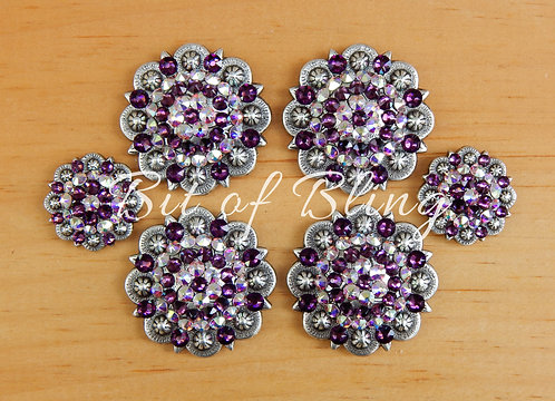 Antique Silver Round Berry Saddle Set - Amethyst & Crystal AB
