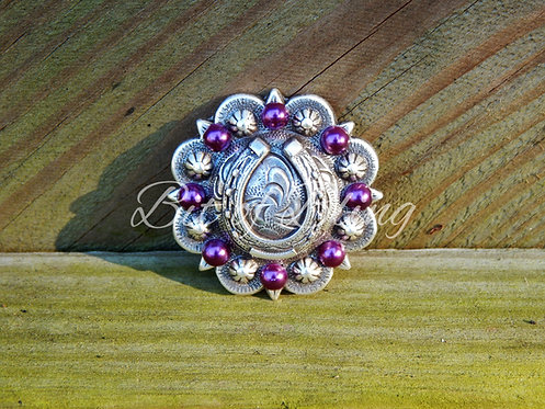 Antique Silver Round Berry Horseshoe Concho - Amethyst Pearls