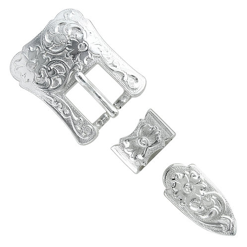 Shiny Silver 3pc Western Buckle