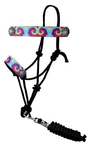 Tie Dye Print Rope Bronc Halter w/ Lead
