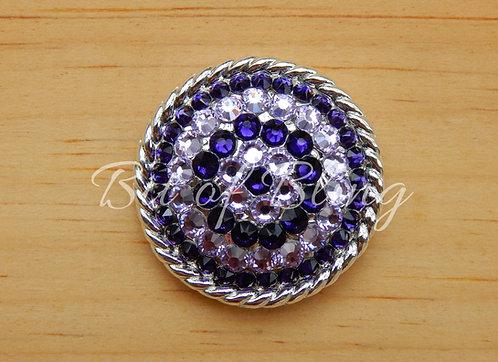 Shiny Silver Round Rope Edge Concho - Purple Velvet & Violet
