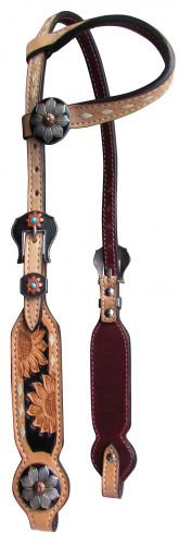 Buckstitch Sunflower One Ear Leather Headstall