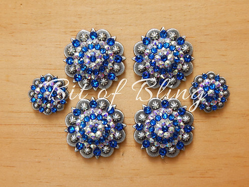 Antique Silver Round Berry Saddle Set - Capri Blue & Crystal AB