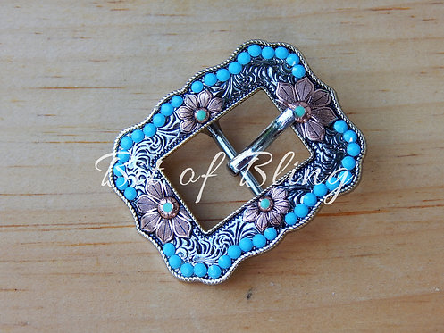 Turquoise Floral Rope Edge Buckle