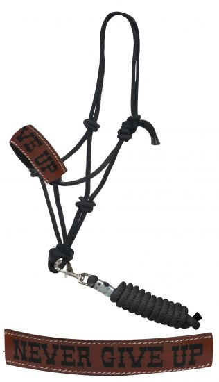 Never Give Up Branded Leather Rope Bronc Halter w/ Lead