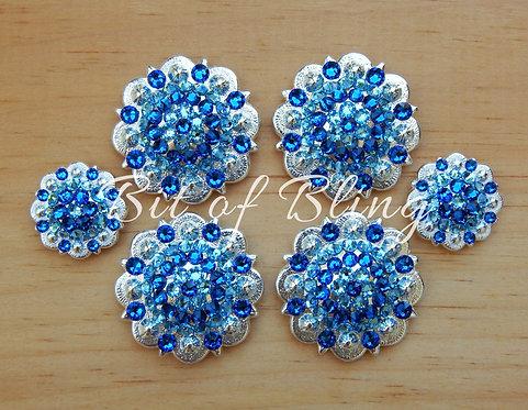Shiny Silver Round Berry Saddle Set - Capri Blue & Aquamarine