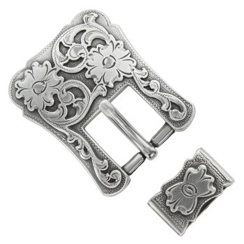 Antique Silver 2pc Western Buckle