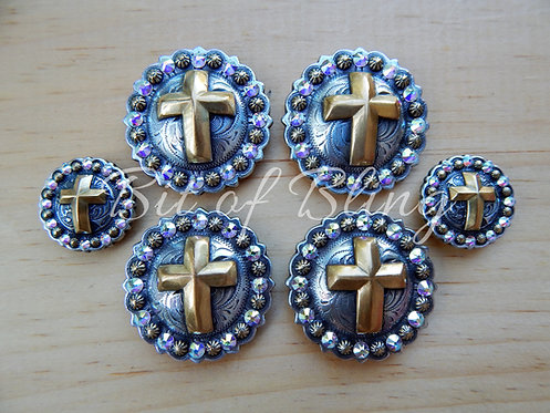 Silver & Gold Round Berry Cross Saddle Set - Crystal AB