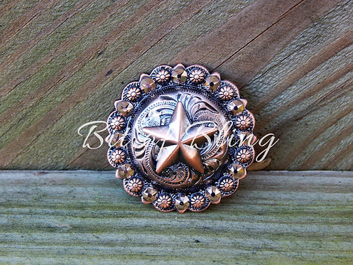 Copper Round Berry Star Concho - Rose Gold