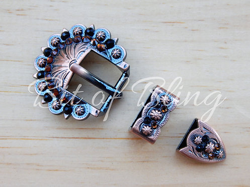 Copper Berry 3pc Buckle - Jet & Smoke Topaz