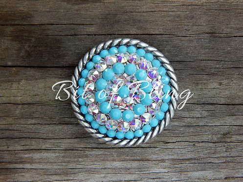 Antique Silver Round Rope Edge Concho - Turquoise & Crystal AB