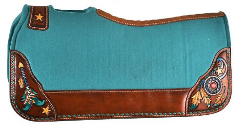 Turquoise Dreamcatcher Felt Saddle Pad