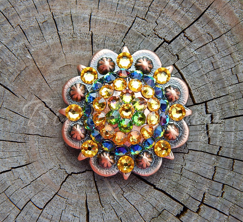 Copper Round Berry Concho - Sunflower & Vitrail Medium