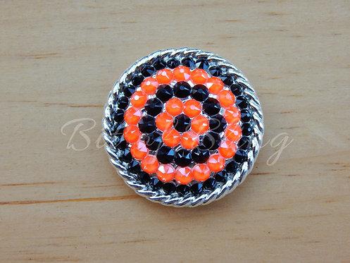 Shiny Silver Round Rope Edge Concho - Jet & Electric Orange