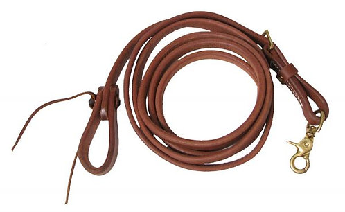 "5/8"" x 8' Oiled Harness Leather Adjustable Roping Rein"
