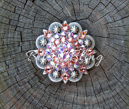 Antique Silver Round Berry Concho - Rose Peach & Crystal AB