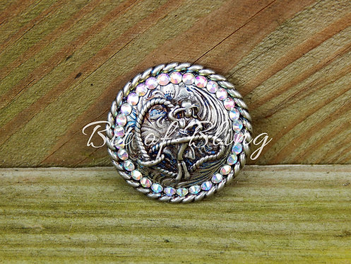 Antique Silver Round Rope Edge Cowgirl Concho - Crystal AB