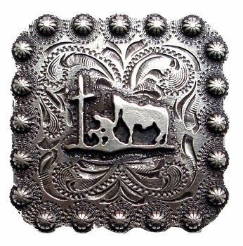 Antique Silver Square Berry Praying Cowboy Concho