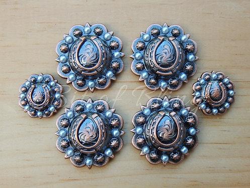 Copper Round Berry Horseshoe Saddle Set - Ivory Pearls