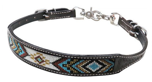 Beaded Leather Wither Strap #19319