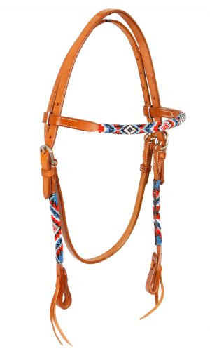 Beaded Leather Browband Headstall #74066
