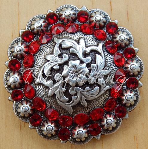 Antique Silver Coloma Berry Concho - Lt. Siam & Siam