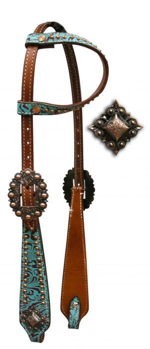 Teal Filigree One Ear Leather Headstall