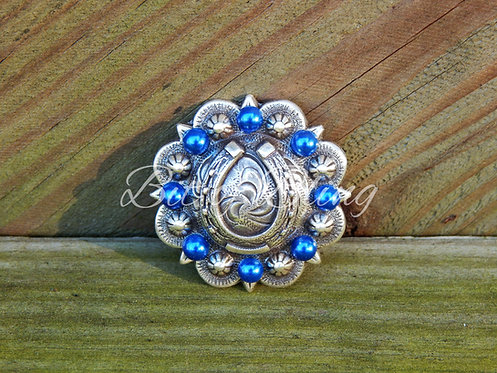 Antique Silver Round Berry Horseshoe Concho - Sapphire Pearls