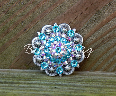 Antique Silver Round Berry Concho - Light Turquoise & Crystal AB