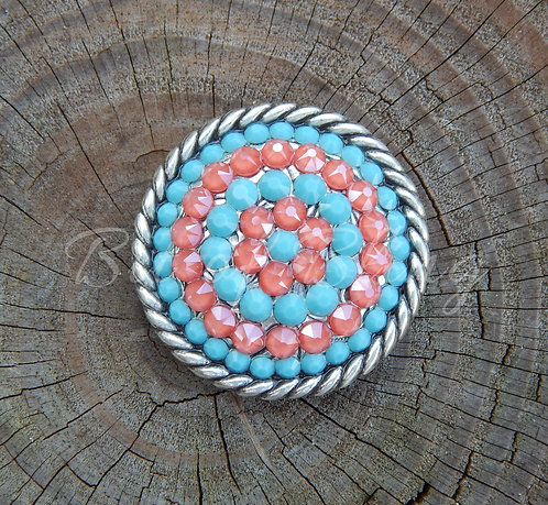 Antique Silver Round Rope Edge Concho - Turquoise & Coral