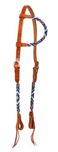 Beaded Leather One Ear Headstall #74059
