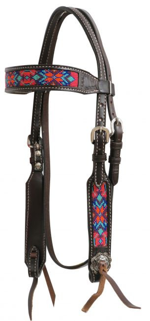 Beaded Leather Headstall #13741