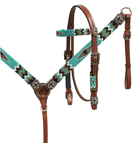 Teal, Gold, Black Cross Beaded Tack Set