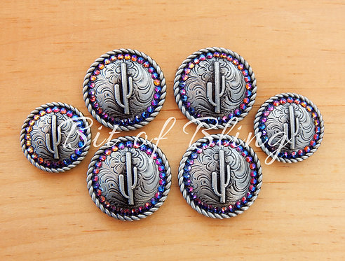 Antique Silver Round Rope Edge Cactus Saddle Concho Set - Blue Volcano