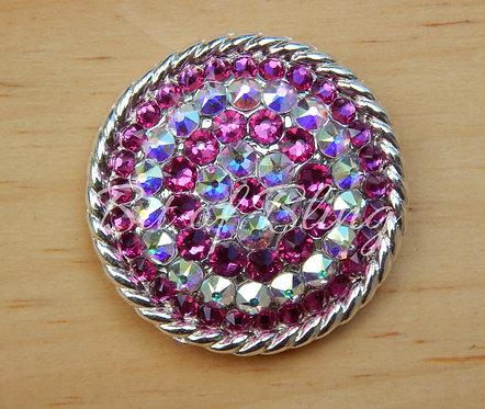 Shiny Silver Round Rope Edge Concho - Fuchsia & Crystal AB