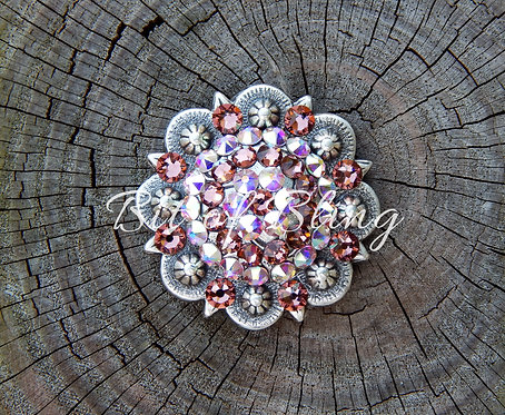 Antique Silver Round Berry Concho - Blush Rose & Crystal AB