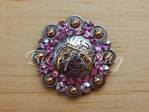 Silver & Gold Crossed Pistols Round Berry Concho - Rose & Rose AB